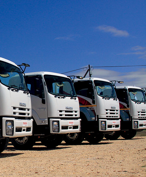 A fleet of Isuzu trucks