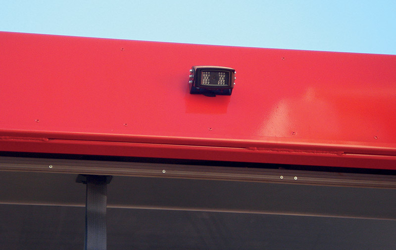 The reverse-view camera fitted to the rear of one of the ABI's trucks.