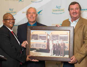 George Mokgothu, Interstate Bus Lines CEO, with the founders of Interstate Bus Lines, Fred Kinnear and Abel Erasmus.